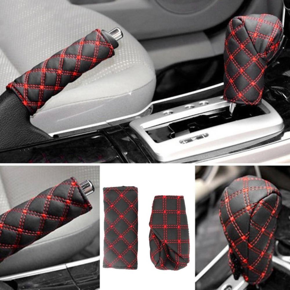 2Pcs/Set Faux Leather Hand Brake Cover Shift Knob Cover Anti-slip Gear Case Car