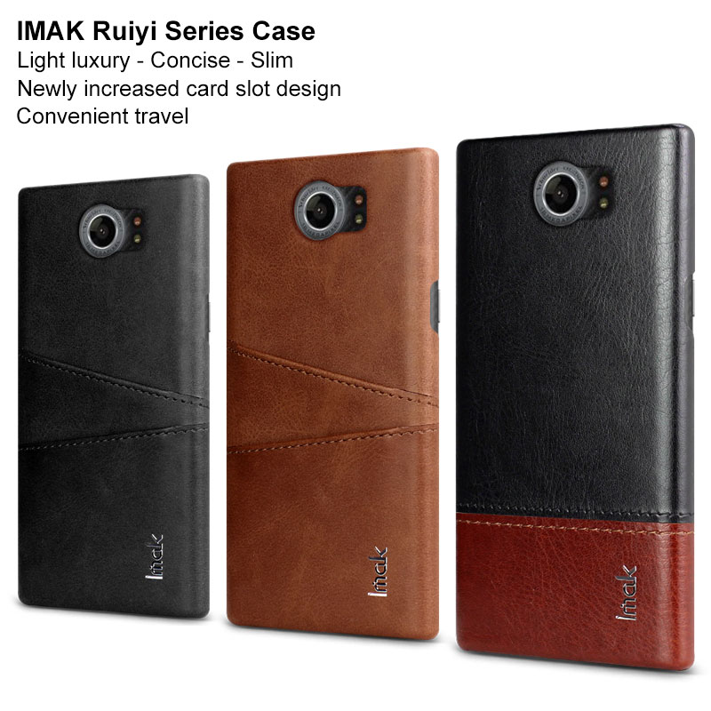 Imak Concise Card Slots Leather Case for Blackberry Priv Leather PC Back Cover for Blackberry Venice BB Priv Venice Coque Fundas(China)