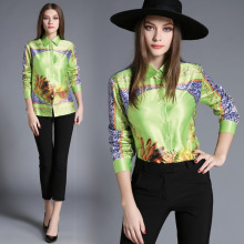 High Quality Women Floral Print Polo Blouse Cardigan Tops Blouse Female 2017 Summer OL Women's CHIFFON Silk Blouse Shirts JA2504