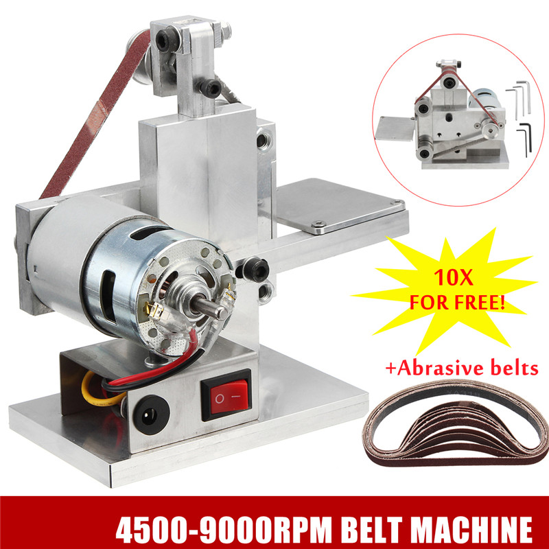110 240V Electric Belt Sander Polishing Grinding Machine Knife Edges Sharpener Woodworking Metal Grinder And 10Pcs