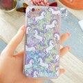Fantástico caliente Unicornio Caballo Animal Gato Líquido Dinámico Glitter Capa Teléfono Casos cubierta para iphone 7 7 plus 4S 5S sí 5c 6g 6 s 6 más