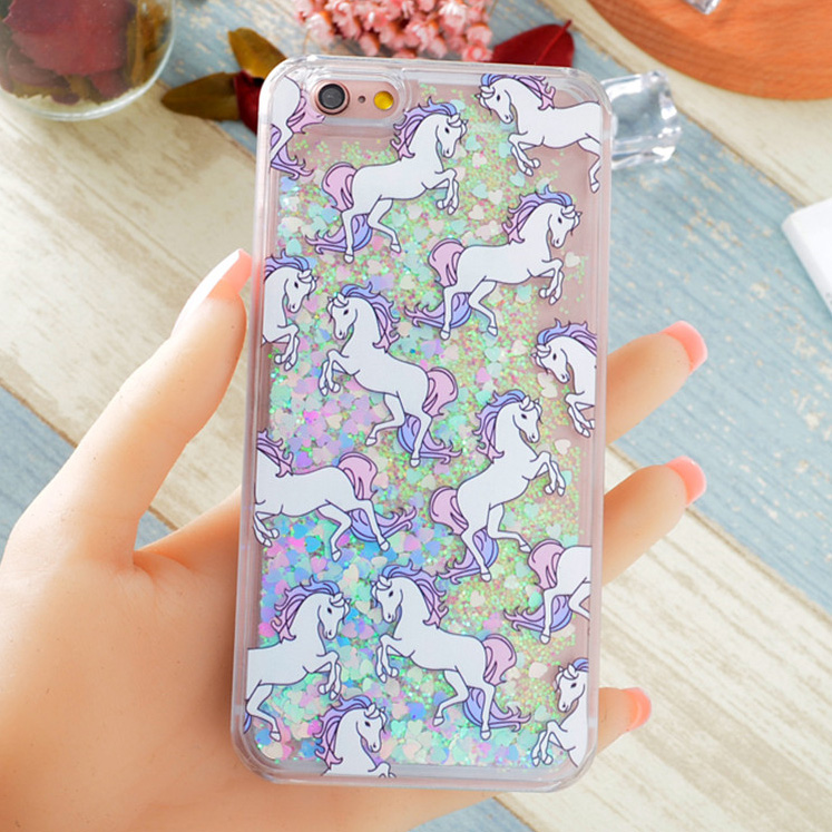 buy popular 71e80 7bd06 Hot Fantastic Unicorn Animal Horse Case Dynamic Liquid Glitter Capa Phone  Cases Cover For iPhone X 8 7 7Plus 5S SE 5C 6 6S 6Plus