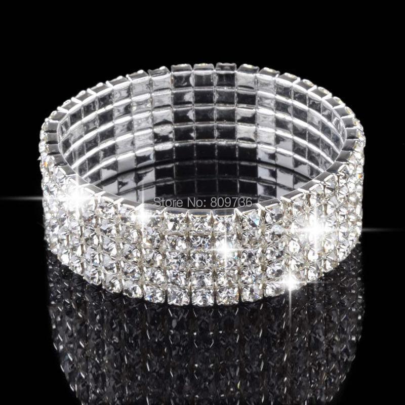 New Ladies Women 9 Row Diamond Choker Jewelry Necklace Crystal Rhinestone Charm