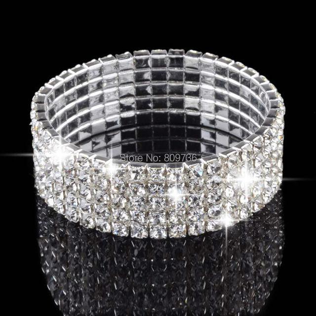 4 5 8 Rows Wedding Bridal Bracelet Crystal Multicolor Diamante Rhinestone Stretch Bangle Women Charm