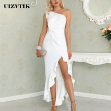 New Summer Dress For Women 2019 Elegant Sexy Off Shoulder Split Long Party Dress Female Casual Solid Bodycon Maxi Dresses White(China)