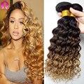 Глубокая Волна Связки Афро-Американской Плетение Ombre Плетение Волос Для черные Женщины Черный Блондин Кудрявый Человеческих Волос 3 Bundle Бразильский волос