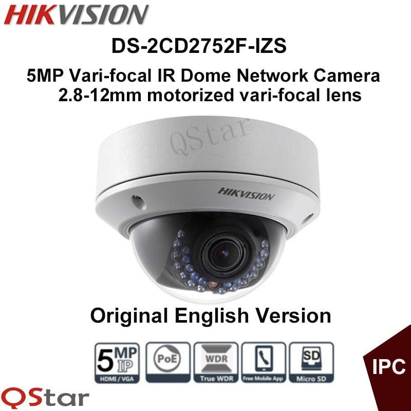 Hikvision Original English IP Camera DS-2CD2752F-IZS Audio POE 5MP Vari-focal Motorized Lens Dome CCTV Camera IP67 hikvision original english cctv camera ds 2cd2142fwd is 4mp fixed dome ip camera poe audio ip67 junction box ds 1280zj dm18