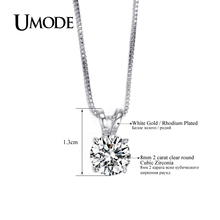 UMODE Classic Permanent 2ct Solitaire Hearts and Arrows CZ Pendant Necklace UN0047