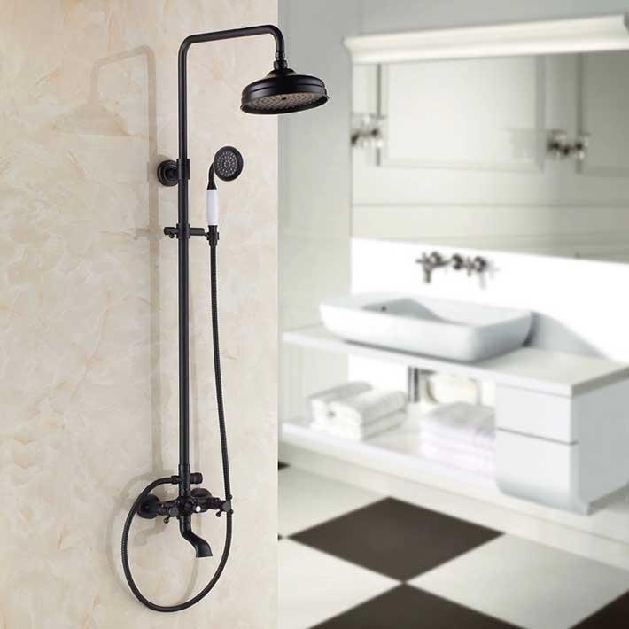 Oil Rubbed Bronze ORB Bathroom Bath and Shower Faucet Set