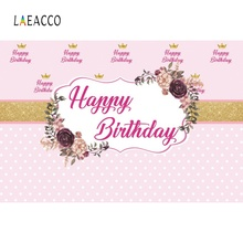 Laeacco Pink Happy Baby Birthday Party Golden Crown Poster Photographic Backdrop Photography Backgrounds Photocall Photo Studio