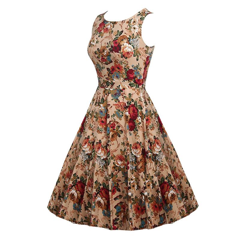 Kostlish Cotton Summer Dress Women 2017 Sleeveless Tunic 50s Vintage Dress Belt Elegant Print Rockabilly Party Dresses Sundress (26)