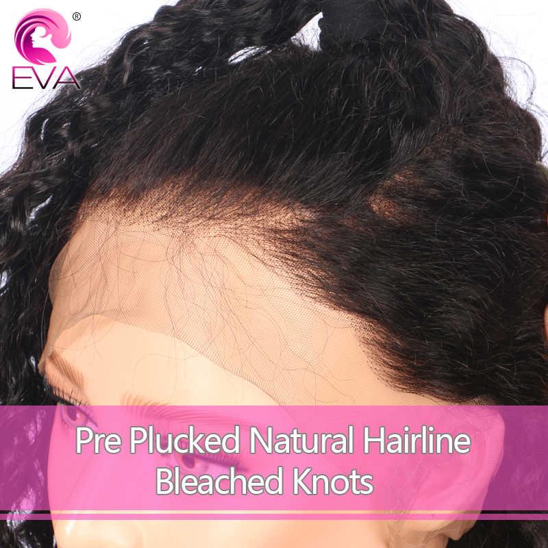 Pelo de Eva 360 peluca Frontal de encaje Pre desplumado con pelo de bebé sin pegamento de encaje Frontal pelucas de cabello humano profundo rizado brasileño cabello Remy