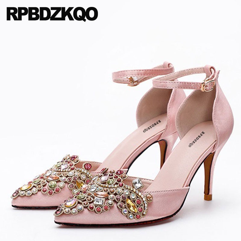 Ankle Strap High Heels Rhinestone Thin Bridal Pink Ladies Bride Pointed Toe 3 Inch Crystal Red Satin Shoes Wedding Pumps Size 33 new pink red rhinestone diamond bride s shoes super high heels crystal bowl wedding shoes elegant sandals female pumps feminina
