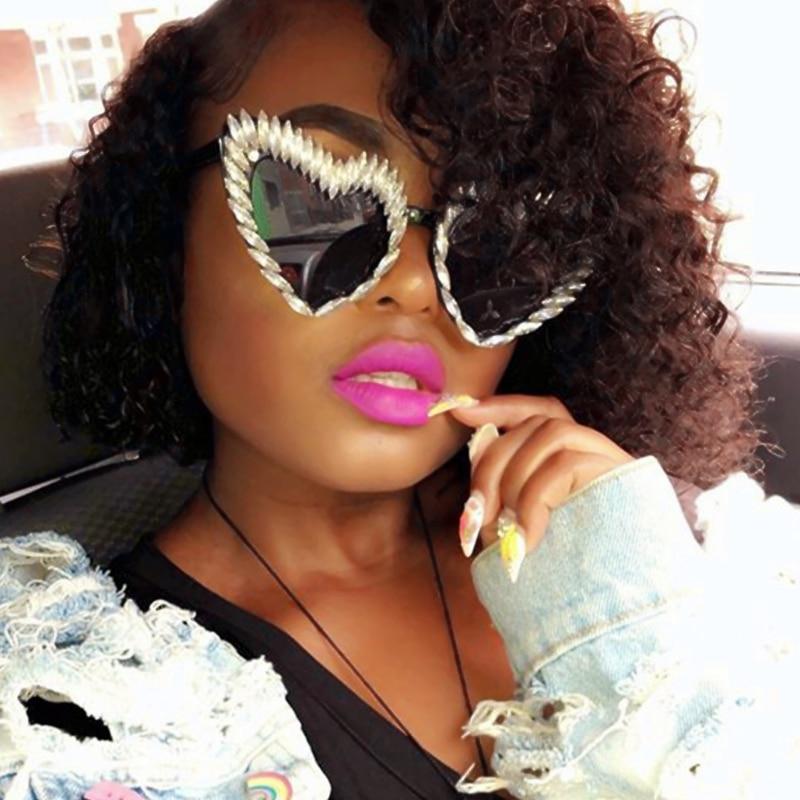 2018 Óculos De Sol Das Mulheres da marca Cool designer Óculos De Sol para  Homens óculos de Strass luxo Retro Do Amor Do Coração Forma Verão shades 8d87720a35