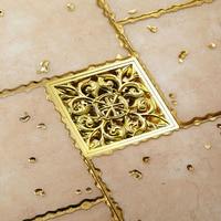 Modern 10*10cm carving Bathroom gold finishing Brass Floor Drain Square Shape Waste Drainer