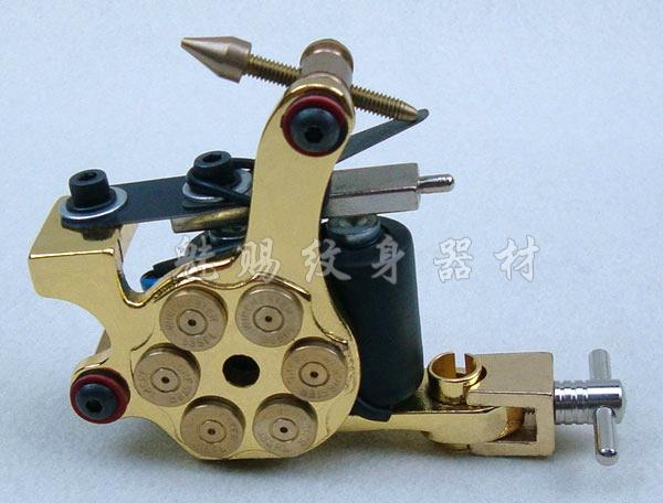 US $23 7 |Gold pistol bullet tattoo machine professional tattoo equipment  power supply Cast Iron Tattoo Shader Bullet Design Gold BD1002 2-in Tattoo