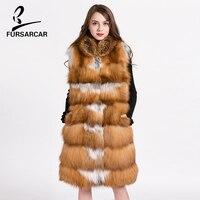 FURSARCAR Fashion Genuine Fur Coat 100 Real Red Fox Fur Long Vest Women S Winter Natural