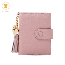 OSWEGO Genuine Leather Women Short Wallet Tassel Heart Pendant Deco Solid Hasp Big Capacity Card Holder Coin Packet Ladies Purse
