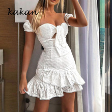 kakan Cotton Embroidered Tube Top Women's Dress Summer New Hot Fashion White Dress Ruffle Embroidered Dress embroidered mesh ruffle bardot top