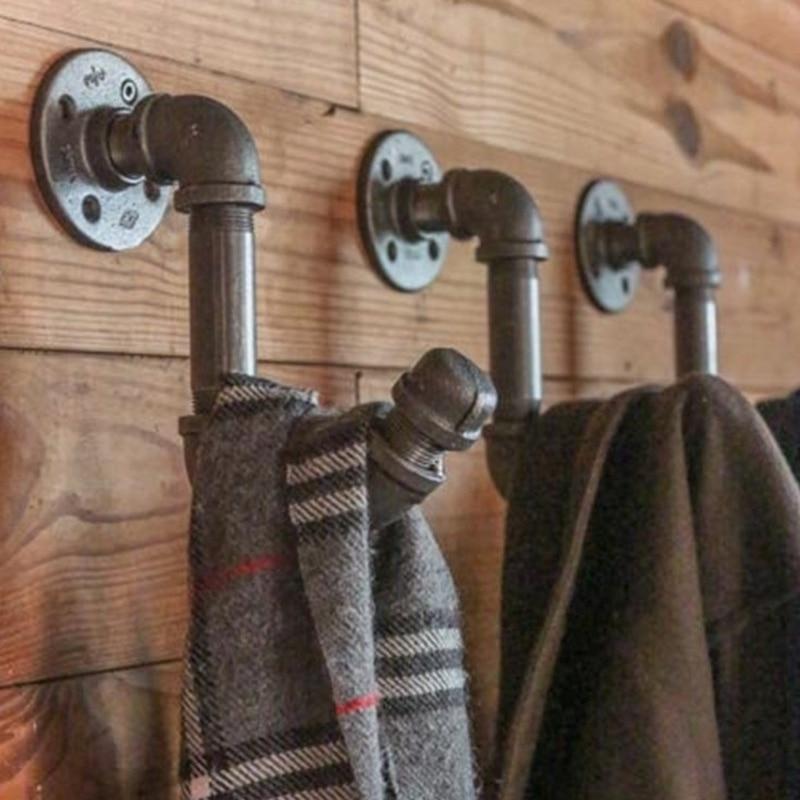 Industrial Pipe Wall Hooks Caps/Flowers/Scarf Holder Roller Bathroom Single Towel Home Cloth Coat  Hook Multi-function Hanger