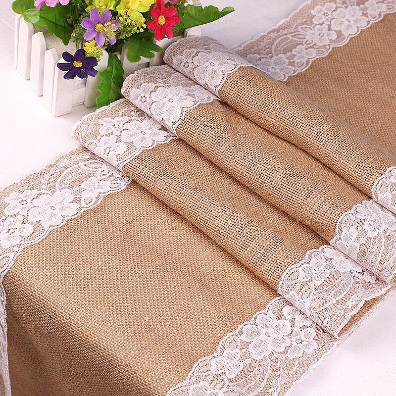 Vintage Linen Chemin De Table Rouge Burlap Jute Lace Crochet Table