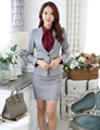 Novelty Grey Uniform Design Slim Fashion Professional Business Female Blazers Suits With Jackets And Mini Skirt Outfits Set