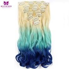 """Neverland 20 """"7 шт./компл. 16 клипы Вьющиеся синтетические шиньоны синий Радуга ломбер цвет поддельные стиль Клип в полной головки волос"""