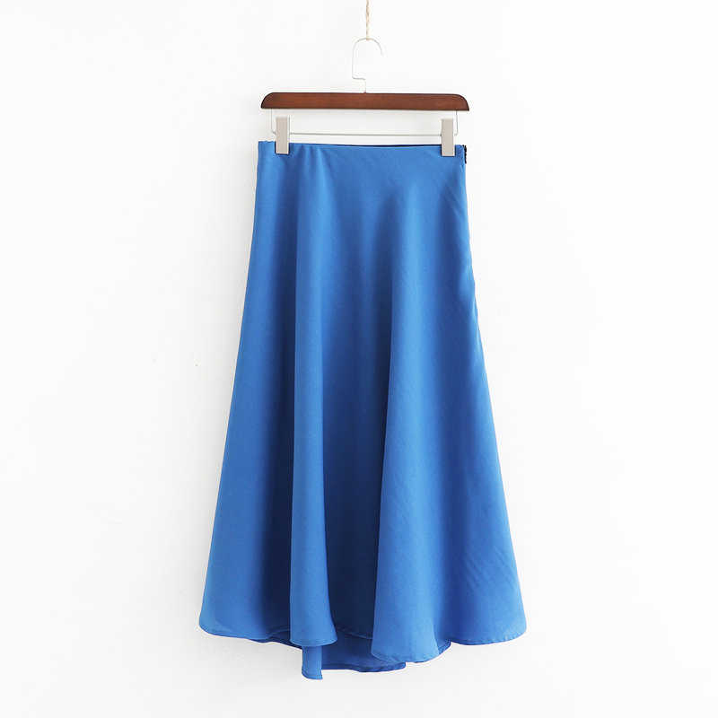 2019 Casual Women Blue Za Linen Skirt Female Vintage Summer Solid A-Line Skirts For Fashion Ladies Long Skirt faldas mujer moda