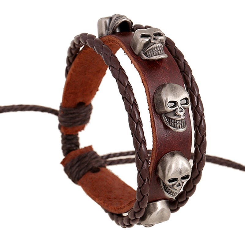 Punk Style Skull Charm Wristband Braided Woven Rope Genuine Leather Bracelets Fashion Wrap Jewelry Wristlet Male Female Bangles