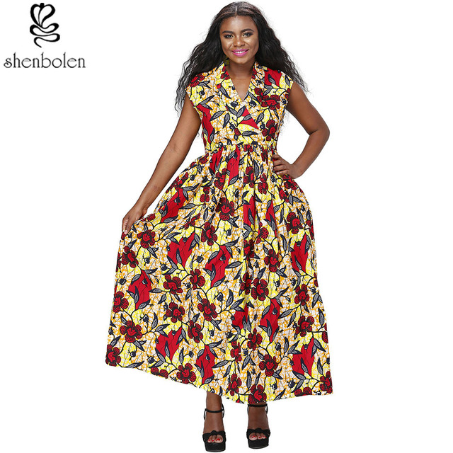 e5947b70ad7 Shenbolen mode africaine femmes robe Ankara batik coton tissu imprimé robe  avec des femmes africaines Ankara