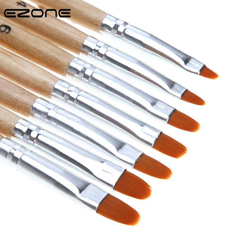 EZONE Wooden Penholder Paint Brush Differebt Size Nylon Hair Brushes For Oil Watercolor Painting Art Tools School Office Supply