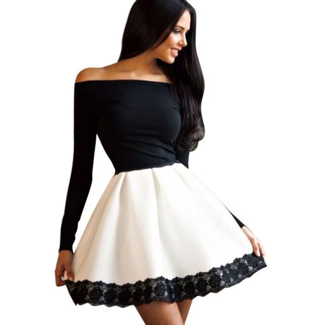 f1742508683 New Black White Patchwork Sexy Women Bodycon Long Sleeve Dresses Floral Off  Shoulder Mini Dress JA03