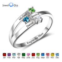 Family Ring Personalized Jewelry Engrave Name Custom Birthstone 925 Sterling Silver Ring Parents And Children(JewelOra RI102505)