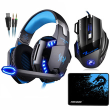 EACH G2000 Stereo Gaming Headset Deep Bass Headphones with Mic LED Light+7 Buttons 5500DPI Mouse+Mouse pad for Game