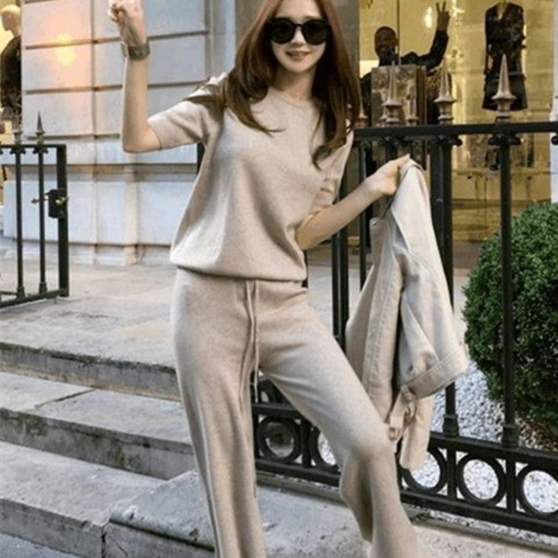 US $26 88 58% OFF|soft waxy comfortable cashmere camel pants female pure  color knitted wide leg pants casual loose knitted pants women pants gray-in