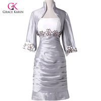 Grace Karin Special Occasion Elegant White Silver Taffeta Short Mother Of The Bride Dresses With Jacket