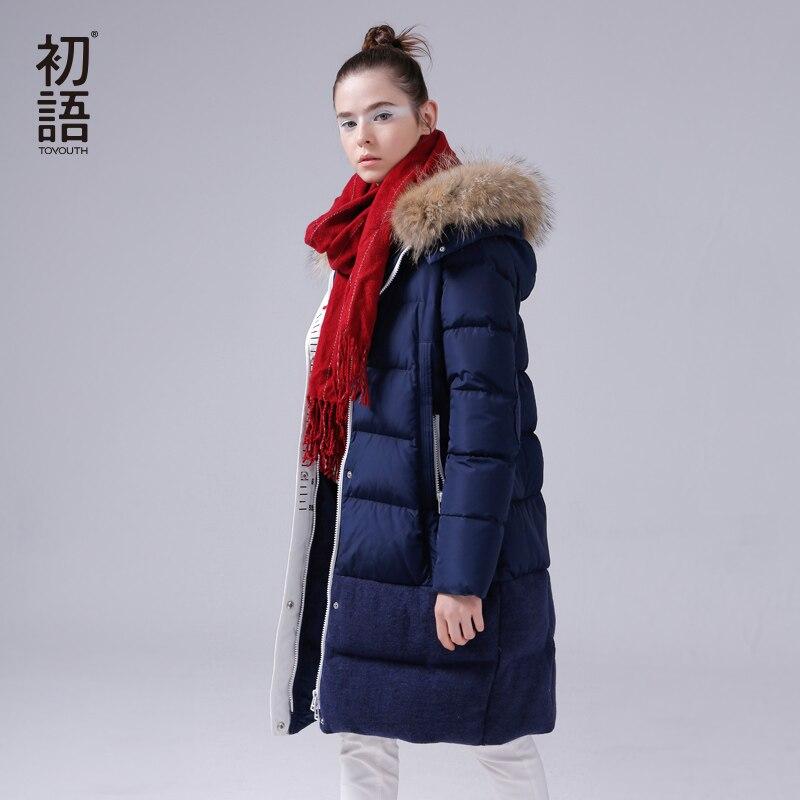 Toyouth 2018 Новинка зимы Куртка на гусином пуху женские длинные Обувь на теплом меху шеи толстовки пальто свободная повседневная верхняя одежда