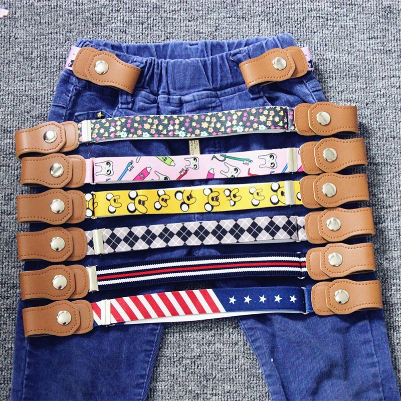 2018 Kid's Jeans Belt Hot New Children Elastic Belt Pants For Girls  Boys Anti Deduction Belt Baby Nursery Essential 16 Colour