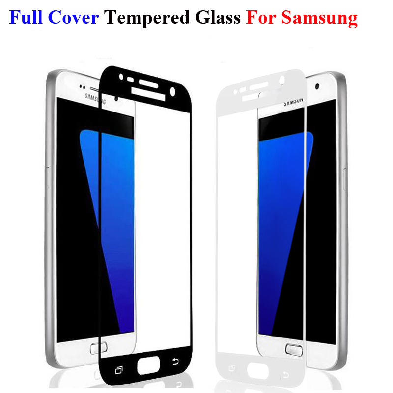GerTong Full Cover Tempered Glass For Samsung Galaxy S6 S7 A5 A3 A7 2016 J3 J7 2017 J5 Prime Note 3 4 5 Screen Protector Glass