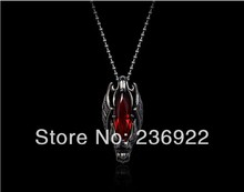 Fashion Jewelry Vintage Charm Red Crystal Dragon Warrior Pendant Necklace For Men