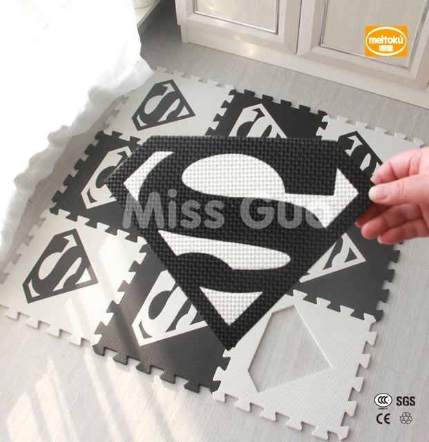 Meitoku baby EVA foam puzzle play mat/lot Interlocking Exercise floor mat,per 30cmX30cm 1cmThick/ Superman/ play mat /10pcs
