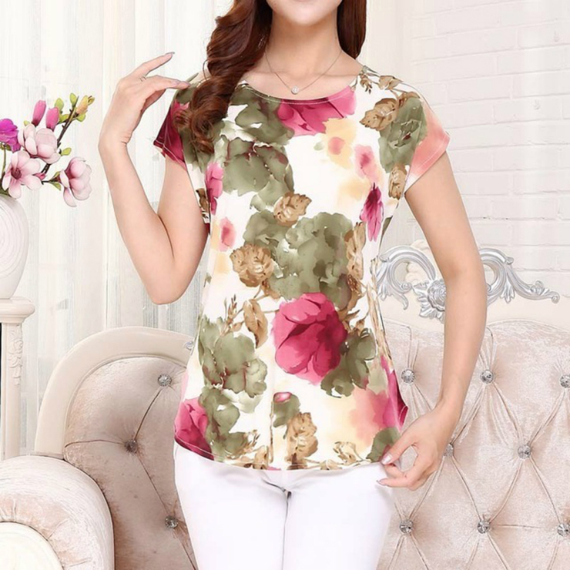 5XL Women Ladies Clothing Tops short Sleeve printing Shirts Casual Boat anchor Blouse Silk female woman clothes plus size in Blouses amp Shirts from Women 39 s Clothing