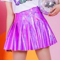 Harajuku Women Holographic Shiny Laser Hologram Pleated Mini Skirt Hot Korea JK Stylelish High Waist PU Club Party Sexy Skirts