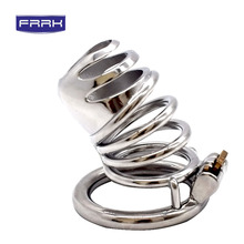 FRRK Extreme Confinement Chastity Cage Male Stainless Steel Chastity Device Metal Cock Cage Penis Lock Sex Toys Adult game все цены