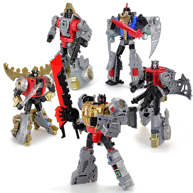 5IN1 BPF ABS Model Transformation G1 Robot Toy Dinoking Volcanicus Grimlock Slag Sludge Snarl Swoop Slash