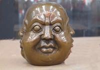 4China folk Bronze Copper happy or angry, sad or joyous 4 face buddha head St
