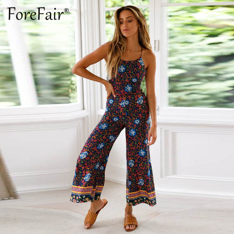 100% Kwaliteit Forefair Wijde Pijpen Broek Zomer Jumpsuit Vrouwen Rompertjes 2019 Vintage Boho Print Backless Spaghetti Strap Boot Cut Sexy Jumpsuit