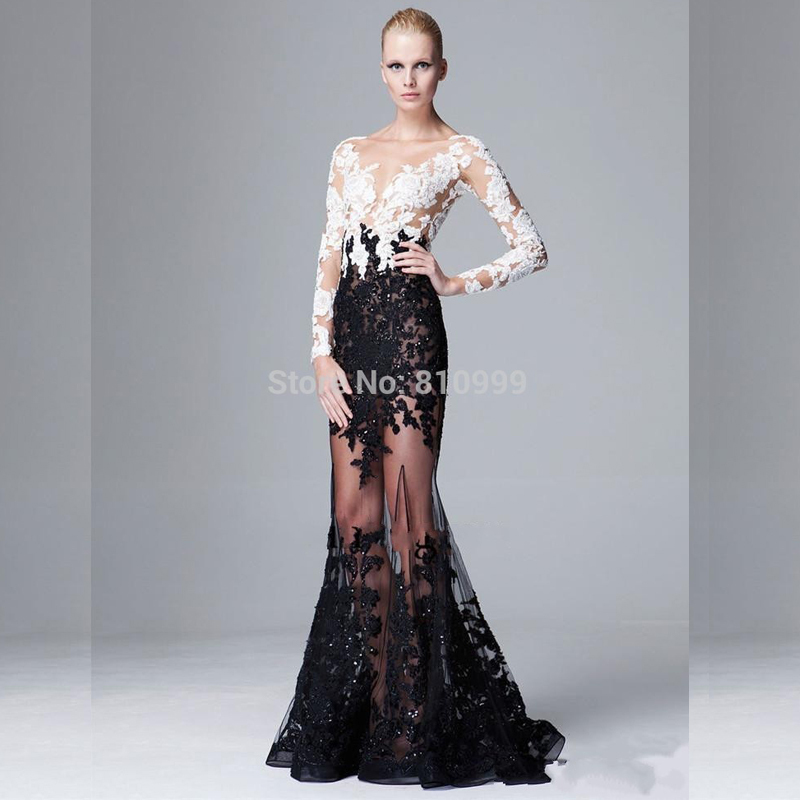 7423e77f5f9e Sexy See Through Long Sleeves Lady Formal Dress White And Black Mermaid  Evening Gown Applique Long Elegant Prom Dresses 2015
