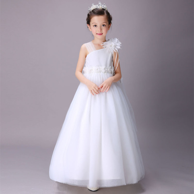 Elegant Girl Wedding Dresses Summer White Long Tulle Evening Party Princess  Costume Lace Teenage Girls Clothes 4 6 8 10 12 14 y 43b0e8b6972b