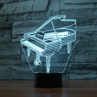 Creative 3D Light Piano Model Illusion 3D Lamp LED 7 Color Changing USB Touch Sensor Desk Light Night Light Remote Controlled